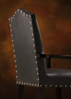Nails come in various sizes and can be spaced or put close together. The Arlington Arm Chair uses larger nails that are widely spaced apart. Used Chairs, Cool Chairs, Cheap Office Chairs, Ashley Furniture Chairs, Leather Dining Chairs, Parsons Chairs, Wing Chair, Chairs For Sale, Nailhead Trim