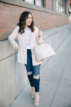 Spring lightweight dusty rose jacket with a pastel graphic tee and ripped denim. Marc Fisher espadrille wedges are also an essential for the warmer months!