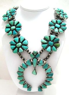 Navajo Squash Blossom Necklace Carico Lake Turquoise Clusters Native Ella Peter | eBay