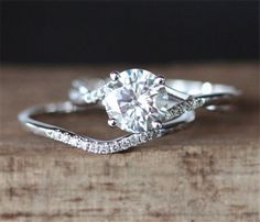 5d23d6924efec Forever Classic C C Moissanite Engagement Ring Set Round Cut Moissanite Ring  Curved Wedding Ring White Gold Ring Set Bridal Set