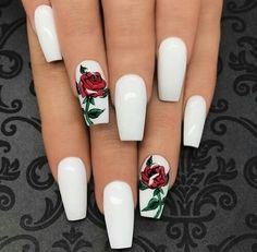 White nails design x red roses https://noahxnw.tumblr.com/post/160882953986/hairstyle-ideas