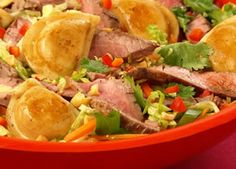 This Thai Steak and Pierogy Salad is healthy and delicious!
