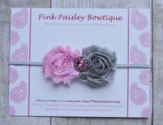 Baby headbands - Pink & Grey Shabby Headband - Baby Girl Headbands - Baby Hair Accessories- Flower Headband - Baby Hairbows. $8.95, via Etsy.