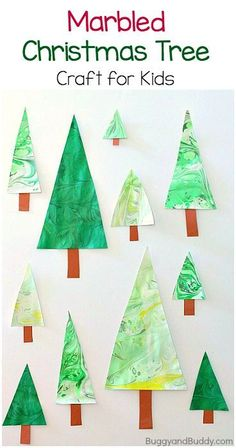 Marbled Christmas Tree Craft for Kids: Fun marbling art project for children. Turn the results into homemade ornaments! ~ http://BuggyandBuddy.com