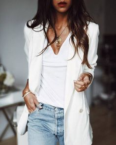 $10 - $200 Bright White Casual Plain Scoop Neck Top And Cream Long Oversized Blazer Light Wash Denim Jeans Cute Gold Jewellery Necklaces Bracelets Rings Tumblr