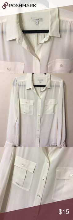 J.Crew white size 12 buttons down top Good condition J. Crew Tops Button Down Shirts