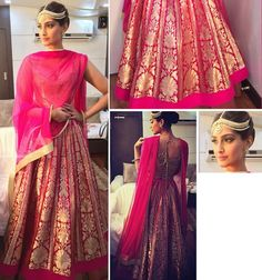 Wear it on your wedding: Keep the skirt as is- its so classic, chic and minimal. Get a heavy dupatta in georgette with embroidered gold border and splattered bootis across. Keep the blouse long, maybe midriff length to get a more 'begum' look and style with a jhoomer or the same mathapatii.