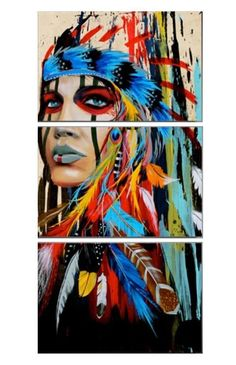 Portrait canvas art wall pictures for living room - Indian woman feathered pride painting - .- Portrait canvas art wall pictures for living room – Indian woman feathered pride painting – home decor, Native American Girls, American Indian Art, American Modern, Art Pop, Native Indian, Native Art, Red Indian, Art And Illustration, Animal Illustrations