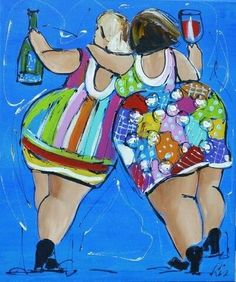 Schilderij van Liz (Paintings by Liz) -Two professional artists (Corrie Leushuis & Renate Rolefes) have found each other in a world of cheerful and colorful paintings. Located in the city of Ootmarsum, Holland. Art Conceptual, Plus Size Art, Fat Art, Happy Paintings, Colorful Paintings, Fat Women, Whimsical Art, Big And Beautiful, Painting Inspiration
