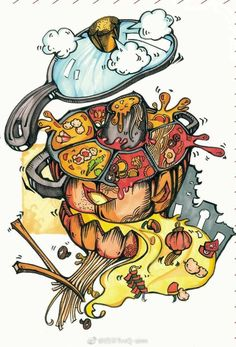 火锅 Simple Illustration, Character Illustration, Graffiti Pictures, Japanese Poster Design, Creepy Art, Retro Wallpaper, Food Drawing, Arte Pop, Mural Art