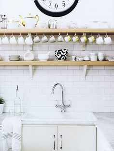 Diane Bergeron / Spanish Architectural Digest {white rustic modern kitchen}, via Flickr.