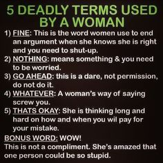 5 Deadly Terms Used by a Woman. Very true!! LOL