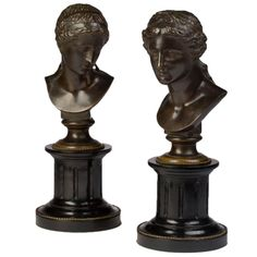 Pair of Neoclassical Style Bronze Busts of Women | From a unique collection of antique and modern bronzes at https://www.1stdibs.com/furniture/more-furniture-collectibles/bronzes/