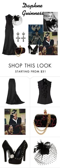 """Daphne Guinness"" by catherinechronicles ❤ liked on Polyvore featuring Lanvin, D&G, Daphne, Alexander McQueen, Pieces, gothic, socialite, alexander mcqueen, goth and black"