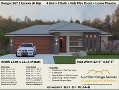 5 Bedroom house plans Australia or 2800 Sq. House Plans For Sale, Best House Plans, Country House Plans, Modern House Plans, Small House Plans, Plan Duplex, Duplex Floor Plans, 5 Bed House, 5 Bedroom House Plans