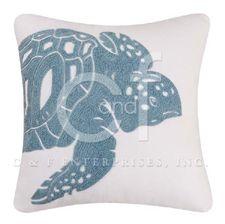 "Sea Turtle Rice Stitch Pillow 18"" x 18"""
