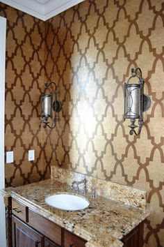 Fabuloso wall stenciled with our Moroccan Arches stencil. Artistry by Cindy Howard and Dana DeBuck by Texas' Decorative & Faux Finishes.  http://www.royaldesignstudio.com/products/moroccan-arches-allover-stencil