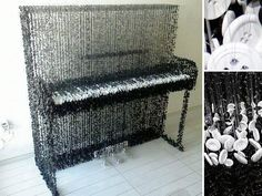 Miami-based artist Augusto Esquivel created this piano sculpture with carefully hung string and hundreds if not thousands of sewing buttons. There are over of sewing buttons in this piano sculpture. The Piano, Piano Art, Button Art, Button Crafts, Esquivel, Diy Buttons, Art Basel Miami, Art Miami, Beaded Curtains