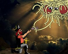 An illustrated depiction of the Flying Spaghetti Monster giving the Pirate Captain Mosey the Eight I'd Really Rather You Didn'ts Bobby, Flying Spaghetti Monster, Religion, May We All, Network For Good, Atheism, How To Cook Pasta, In A Heartbeat, In This Moment