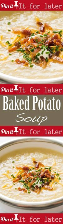 Potato Soup 1.5 hrs to cook serves 4-6 Love loaded baked potatoes ...