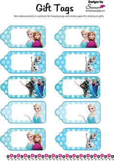 gift tags more free printable gift tags frozen printable frozen gift ...