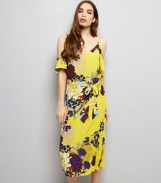 Yellow Floral Print Cold Shoulder Midi Slip Dress | New Look