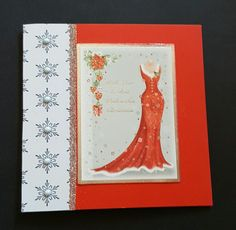 63 lady in red 5in red card with insert and snowflake panel