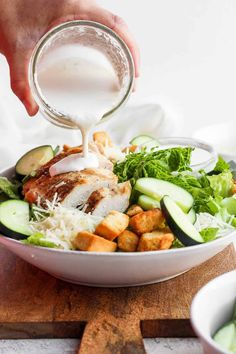 Make this homemade caesar salad dressing for a delicious dressing for salad, wraps, or sandwiches. Best Chicken Salad Recipe, Caprese Salad Recipe, Salmon Salad Recipes, Chopped Salad Recipes, Spinach Salad Recipes, Greek Salad Recipes, Healthy Crockpot Recipes, Healthy Salad Recipes, Healthy Lunches