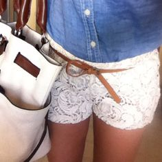 Lace shorts + jean shirt & brown skinny belt
