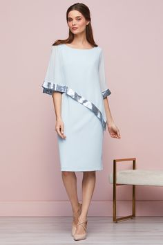 Buy Gina Bacconi Blue Victoria Sequin Trim Cape Dress from the Next UK online shop Gibson Girl, Cape Dress, Classic Beauty, Summer Wardrobe, Wrap Style, Types Of Sleeves, Different Styles, Fashion News, Cold Shoulder Dress