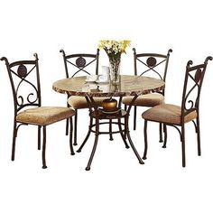 Faux Marble and Metal 5 Piece Dining Set  BrownDarell Faux Marble Top 5 Piece Dining Set   Marble top  Dining  . Faux Marble Dining Set Walmart. Home Design Ideas