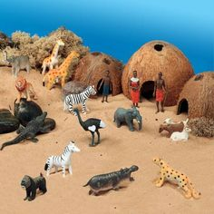 African Theme Scene Kit for Small World Play - Journey into the African landscape and find out about village life. Reggio Emilia, Tuff Spot, African Theme, African Safari, Nursery Activities, Toddler Activities, Handas Surprise, Sensory Boxes, Small World Play