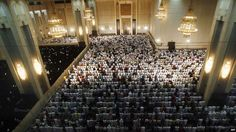 'Muslims pray at the Grand Mosque in Kuwait City in the early hours to mark Lailat al-Qadr, or the Night of Power, the 27th night of Ramadan.' From BBC. 25 August 2011