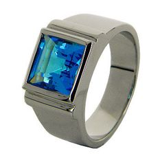 Blue Topaz Sterling Silver Men Ring Big Size Ring by jewelkingthai, $94.00