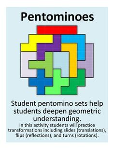 Student pentomino sets help students deepen geometric understanding.  In this activity students practice transformations including slides (translations), flips (reflections), and turns (rotations).  This set includes 12 pages of pentominoes with 8 on each page. Each type of pentomino can be printed on its own sheet of color paper. Included is an info sheet with the names of the shapes and the names of transformations.  There are also two pages of pentomino designs for students to explore.
