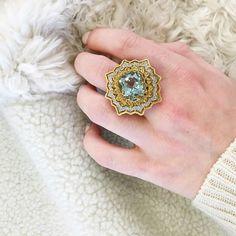 Cozy aquamarine nights in our 18k gold, aquamarine and diamond cocktail ring handmade by Ricardo Basta Fine Jewelry