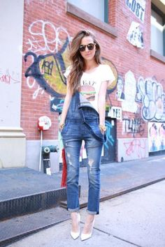 Look cool and casual with a simple graphic tee in this one-shoulder look by Arielle of Something Navy. #Style #Overalls