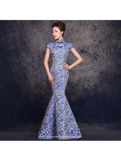 Buy traditional chinese clothing,traditional chinese dress Mandarin collar Chinese cheongsam inspired party gown blue pottery brocade ankle length mermaid evening dress From CN Online Shop,Product Description Size(cm) X-Small Small Medium Chinese Clothing Traditional, Chinese Wedding Dress Traditional, Party Gowns, Dress Party, I Dress, Qipao Modern, Asian Inspired Wedding, Blue Pottery, Cheongsam Dress
