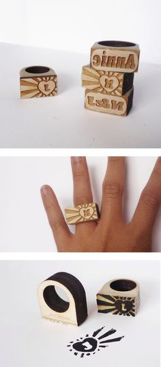 Laser cut ring by Vectorcloud. The key to fun fashion is finding the 'write' accessory and this custom ring is bound to get you noticed (have it as a stamp or not)