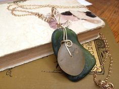 Green sea glass and cape cod quartz by KathleenCaraher on Etsy, $65.00