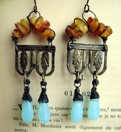 Discoveries of Ancient Pompeii assemblage earrings by Anvil Artifacts