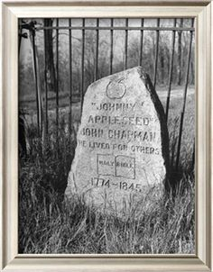 Johnny Appleseed's tombstone in the Archer family cemetery in Fort Wayne, Indiana.