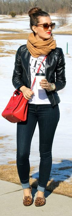 Dark jean, black leather jacket, t-shirt, camel pashmina, leopard flats, and red purse.