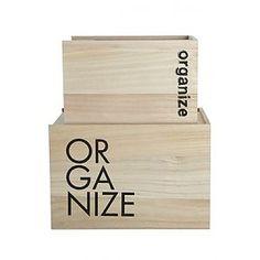 House Doctor Opbergboxen in hout met schuifdeksel en opschrift Organize
