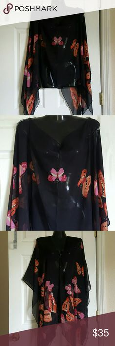 Asos cover up shawl sheer button black butterflies zara one size sheer cover up ...no tags ASOS Tops Blouses