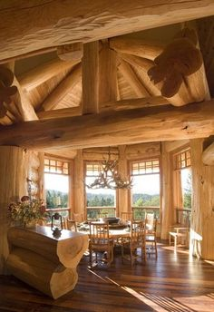 Pioneer Log Homes - love the massive wood