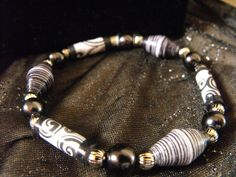 Paper Pearls Jewelry bracelet. Made with paper beads. $7.50