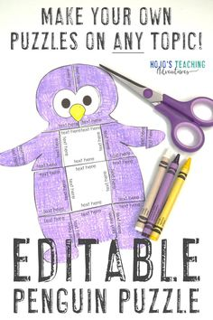 EDITABLE Penguin Activities or Centers - Make your own Math or Literacy Puzzles! 5th Grade Classroom, Middle School Classroom, Future Classroom, Classroom Ideas, Christmas Worksheets, Make Your Own Puzzle, Halloween Math, Fun Activities, Spelling Activities