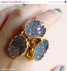 HOLIDAY SALE Gold Druzy Quartz Gemstone Rings  Choose by OhKuol, $23.20