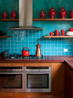 teal turquoise and red painted kitchen decor